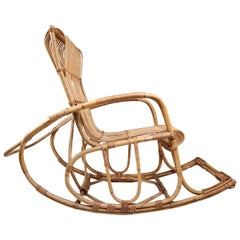 Midcentury French Wicker Rattan Bamboo Rocking Chair, 1960s