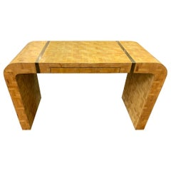 Midcentury French Woven Parquetry Veneer Inlaid Writing Table