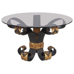 Midcentury French Wrought Iron and Glass Coffee Table, 1960s