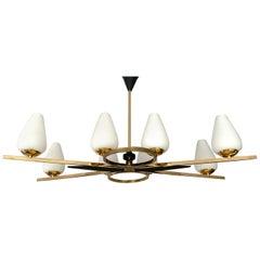 Arlus Pendant Light, Brass Glass, 60s