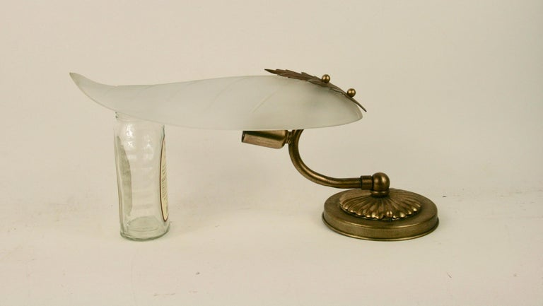 Mid-20th Century SALE 40% Discount  Midcentury Frosted Glass Leaf Sconce For Sale