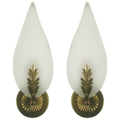 SALE 40% Discount on ALL SCONCES Midcentury Frosted Glass Leaf Sconce