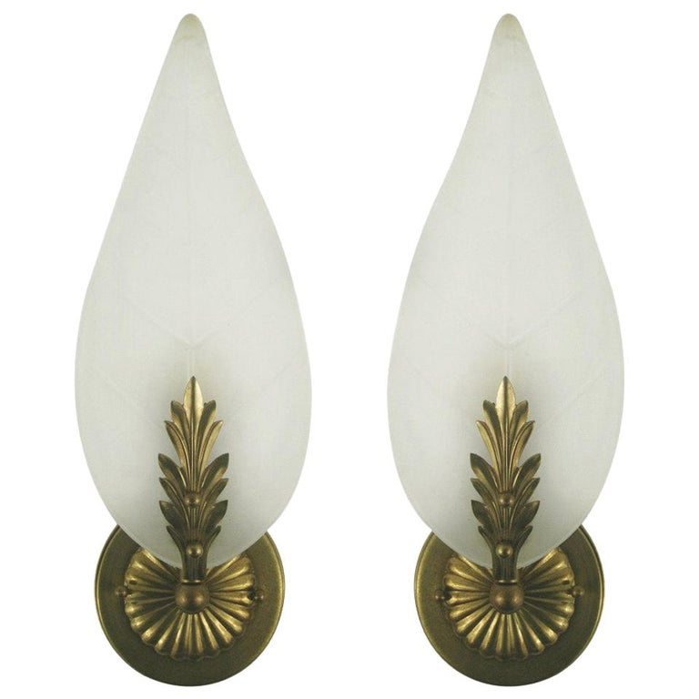 SALE 40% Discount  Midcentury Frosted Glass Leaf Sconce For Sale