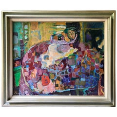 Midcentury Fruit Still Life Abstract Original Signed Oil Painting