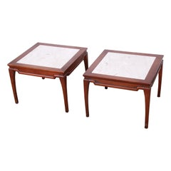 Midcentury Fruitwood Side Tables with Italian Marble Tops, Pair