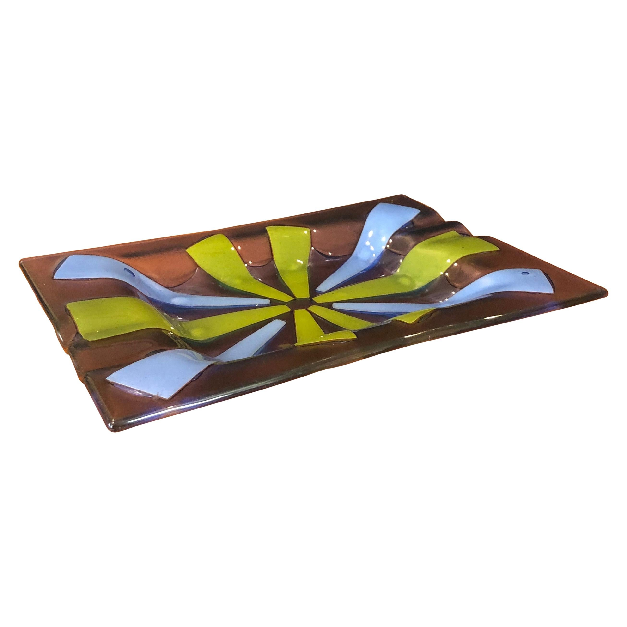 Midcentury Fused Art Glass Ashtray by Higgins