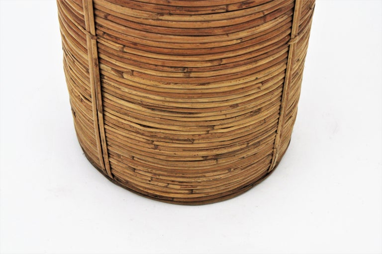 Midcentury Gabriella Crespi Style Brass and Rattan Bamboo Round Umbrella Stand For Sale 6