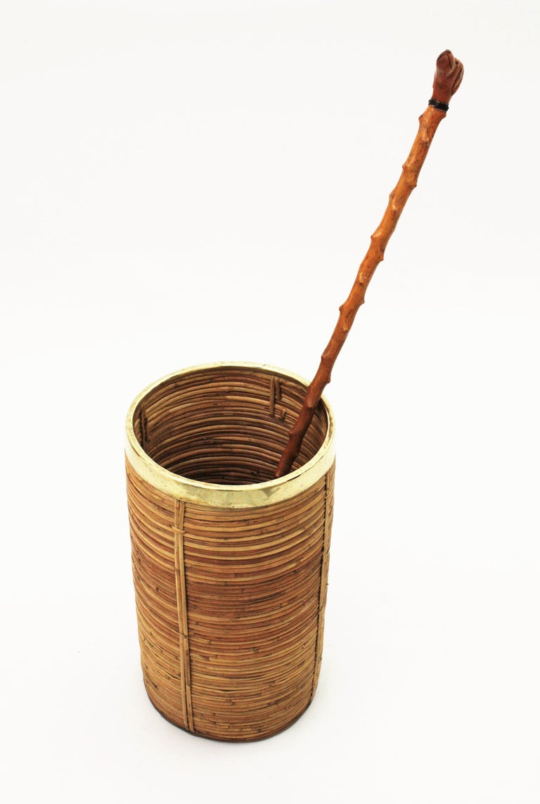 20th Century Midcentury Gabriella Crespi Style Brass and Rattan Bamboo Round Umbrella Stand For Sale