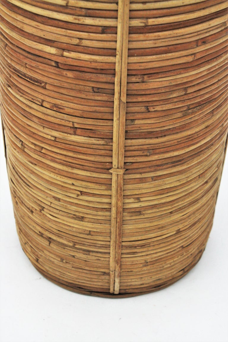 Midcentury Gabriella Crespi Style Brass and Rattan Bamboo Round Umbrella Stand For Sale 3