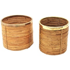 Midcentury Gabriella Crespi Style Brass Rattan Bamboo Round Planter Set of Two