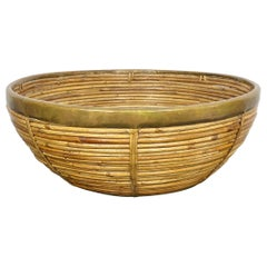 Midcentury Rattan and Brass Basket Bowl Centerpiece 1970s