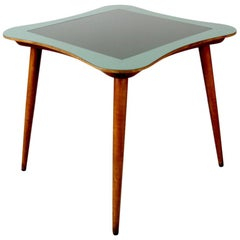 Midcentury Gaming Table with Two-Tone Glass Top
