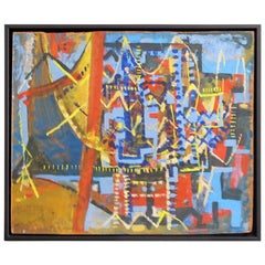 Midcentury Geometric Abstract Oil Painting in Blue, Red and Yellow on Masonite