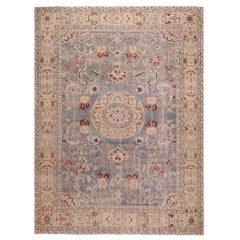 Midcentury Geometric Beige and Blue Hand Knotted Wool Rug with Crimson Floral