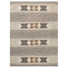 Midcentury Geometric Gray, Off-white, Brown and Beige Swedish Flat-weave Rug