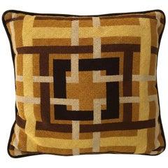 Midcentury Geometric Grid Needlepoint Pillow