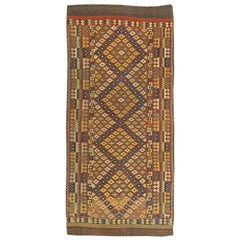 Midcentury Geometric Hand Knotted Wool Kilim Rug in Yellow, Gray, Blue and Red