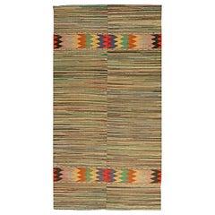 Midcentury Geometric Handmade Wool American Rag Rug in Red, Blue, Brown, Yellow