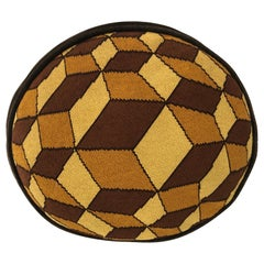 Midcentury Geometric Oval Needlepoint Pillow