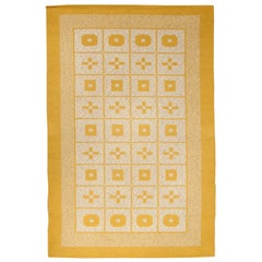 Midcentury Geometric Reversible Swedish Rug in Mustard Yellow and Gray