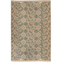 Midcentury Geometric Swedish Ivory and Teal Flat-Weave Double Sided Rug