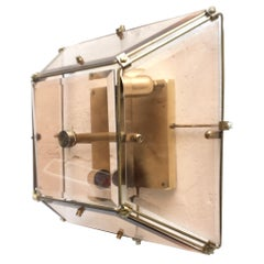 Midcentury Geometrical Brass and Beveled Amber Glass Sconce, Spain, 1960s