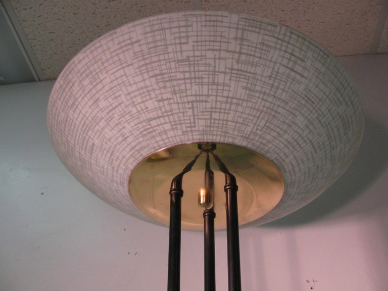 Midcentury Gerald Thurston Torchiere Lamp With Glass Dish