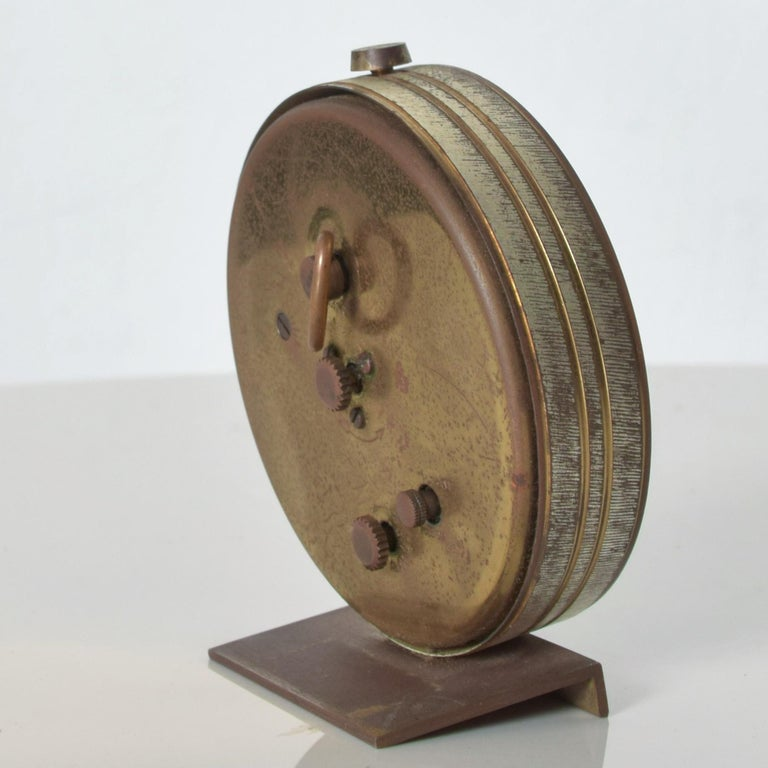 Midcentury German Brass Alarm Clock Elegant Miniature Wind Up Seth Thomas 1950s In Fair Condition In National City, CA