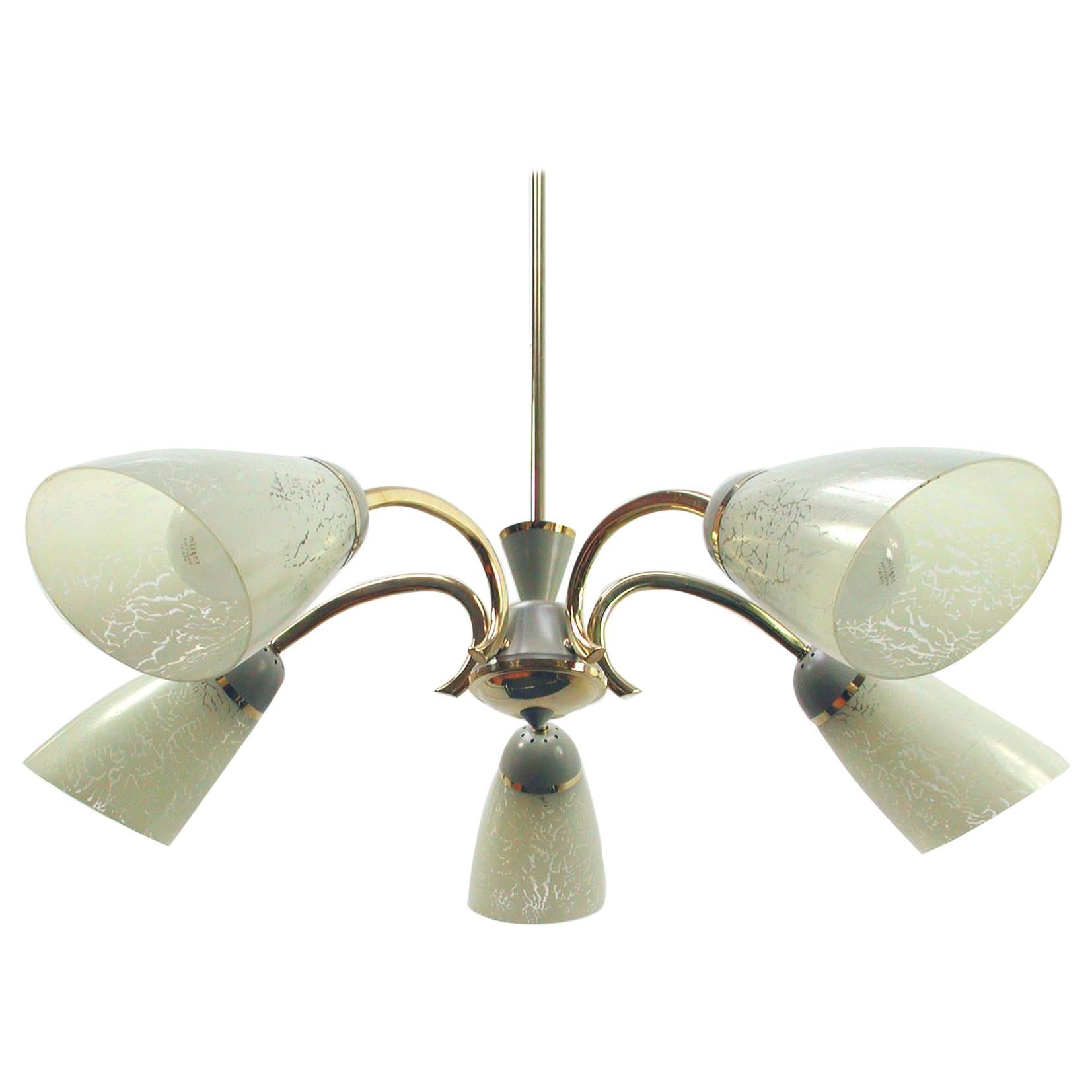 Midcentury German Brass and Glass Sputnik 5-Light Chandelier, 1950s