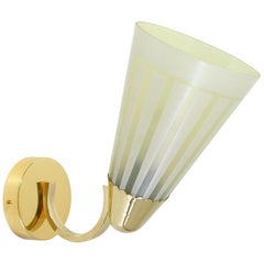 Midcentury German Brass and Glass Wall Light Sconce 1950s