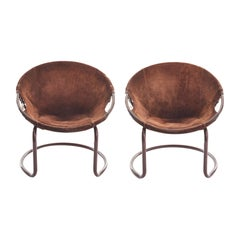 Midcentury German Circle Chairs by Lusch Erzeugnis in Suede
