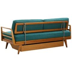 Jahrhundertmitte Deutsches Ausziehbares Buchenholz Tagesbett Sofa von Knoll Antimott, 1950er Jahre