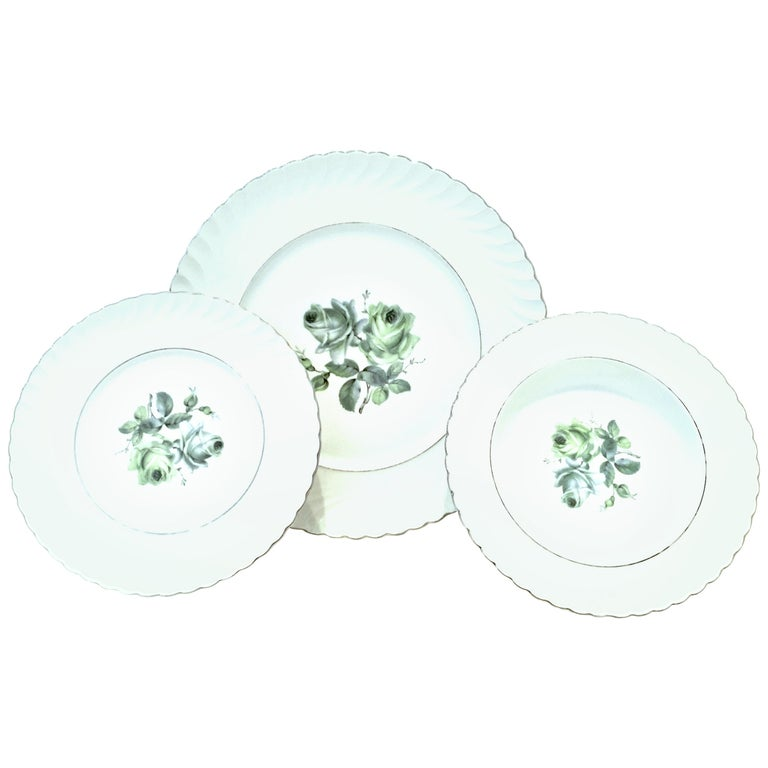 Midcentury German Porcelain & Platinum Dinnerware by, Royal Tettau, Set of 12 For Sale