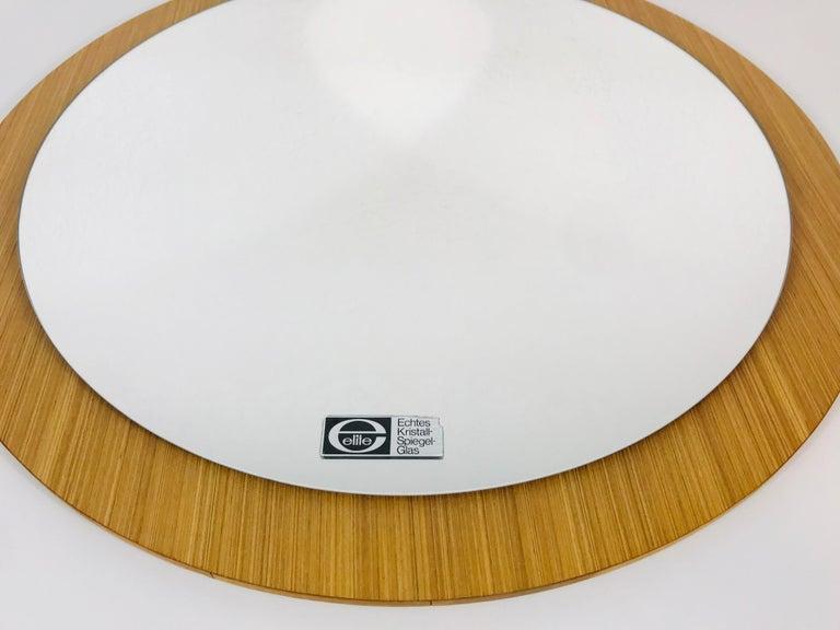 Mid-Century Modern Midcentury German Round Wooden Mirror, Germany, 1960s For Sale