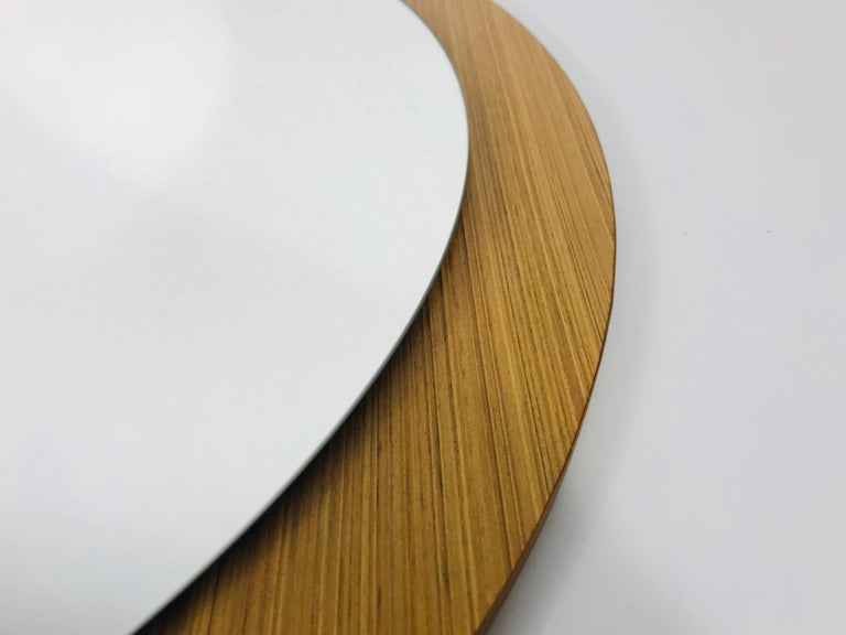 Mid-20th Century Midcentury German Round Wooden Mirror, Germany, 1960s For Sale