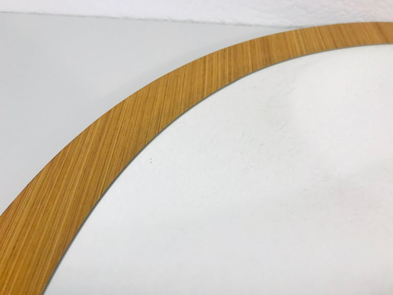 Midcentury German Round Wooden Mirror, Germany, 1960s For Sale 2