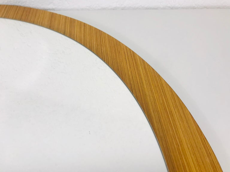 Midcentury German Round Wooden Mirror, Germany, 1960s For Sale 3