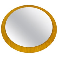 Midcentury German Round Wooden Mirror, Germany, 1960s