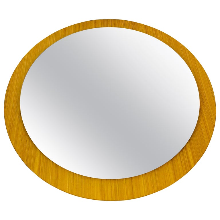 Midcentury German Round Wooden Mirror, Germany, 1960s For Sale