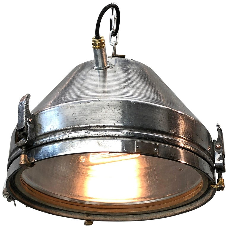 Midcentury German VEB Industrial Iron and Aluminium Pendant with Edison Bulb For Sale