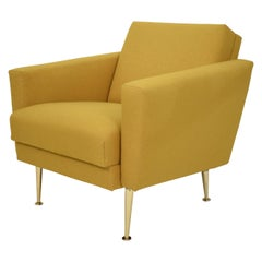 Midcentury German Yellow and Brass Lounge Chair Armchair Pierre Guariche Style