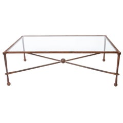 Midcentury Giacometti Style Iron Coffee Table with Glass Top, X-Form Stretcher