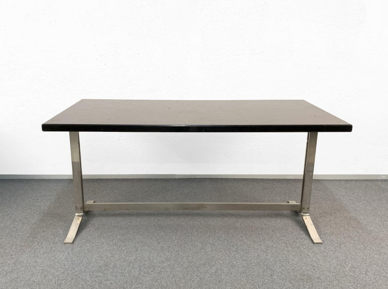 Mid-Century Modern Midcentury Gianni Moscatelli Steel Writing Table for Formanova, Italy, 1960s For Sale