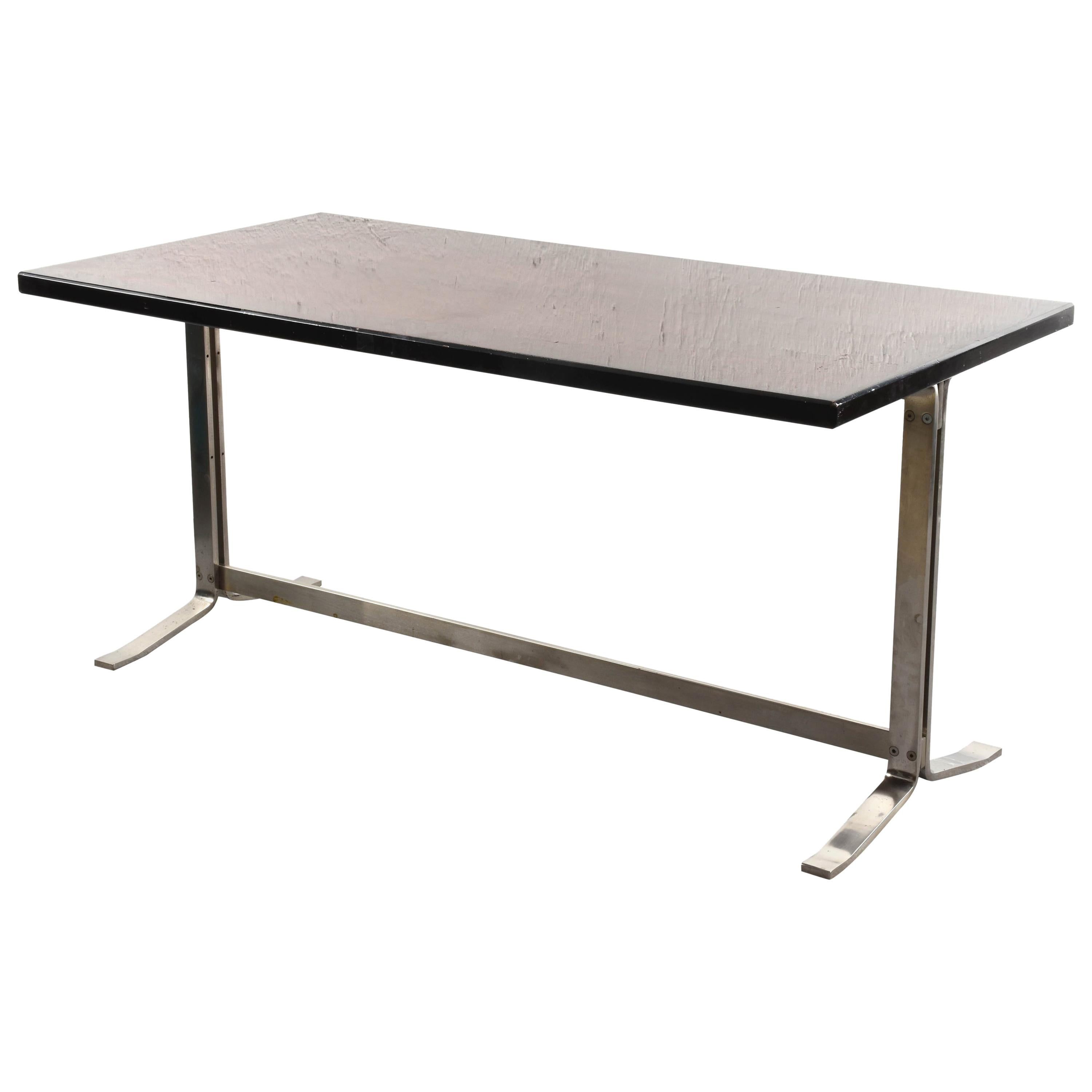 Midcentury Gianni Moscatelli Steel Writing Table for Formanova, Italy, 1960s