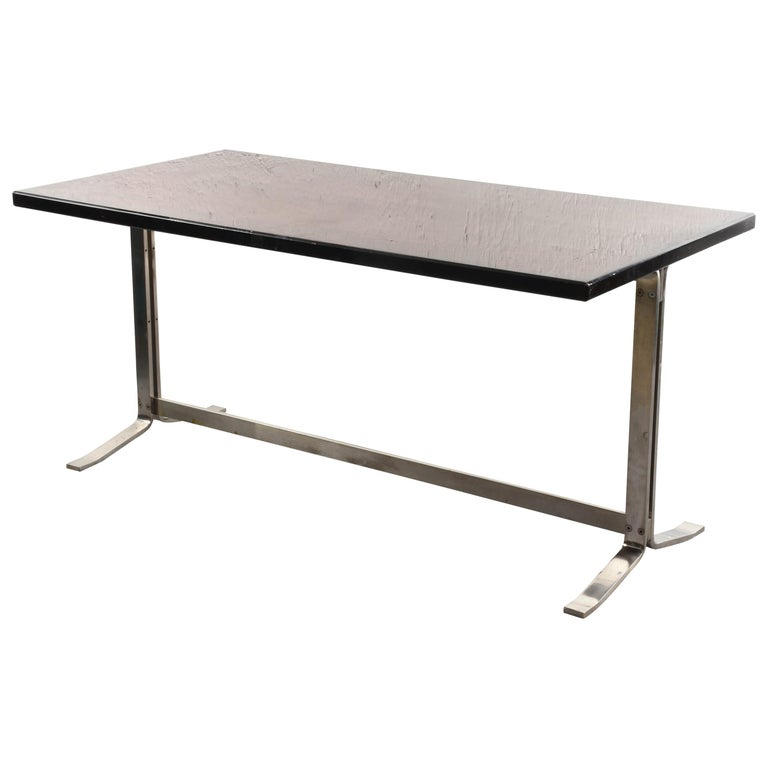 Midcentury Gianni Moscatelli Steel Writing Table for Formanova, Italy, 1960s For Sale