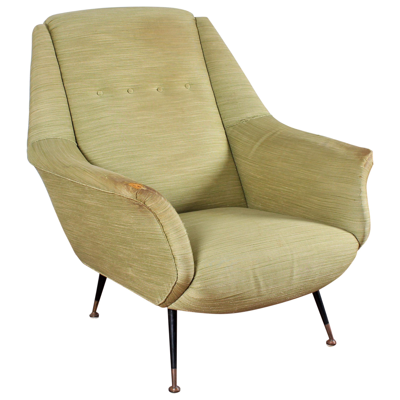 Midcentury Gigi Radice for Minotti Wood, Brass and Fabric Armchairs, Italy 1950s