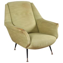 Midcentury Gigi Radice for Minotti Wood, Brass and Fabric Armchairs, Italy 1950s