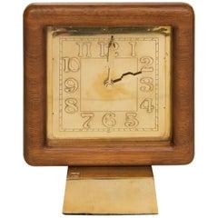 Midcentury Gild Bronze Clock in a Solid Teak Frame