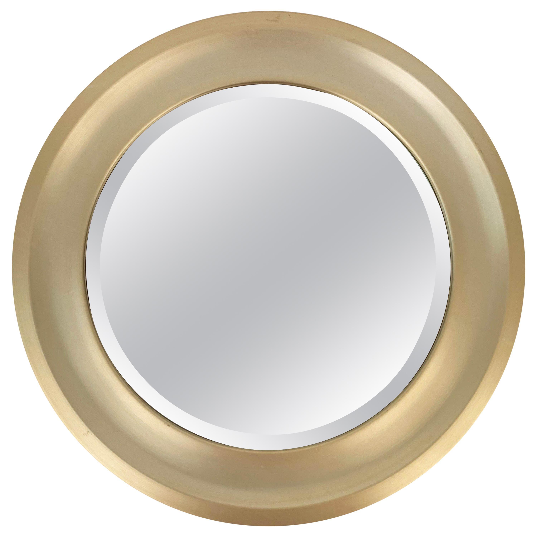 Midcentury Gilded Aluminum Frame Round Bevel Italian Mirror Artemide Style 1960s