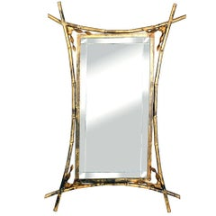 Midcentury Gilded Faux Bamboo Mirror